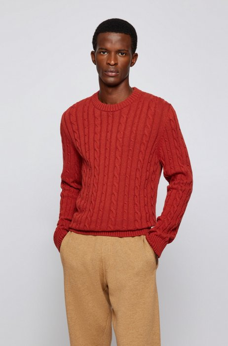 Regular-fit sweater with cable-knit structure, Red
