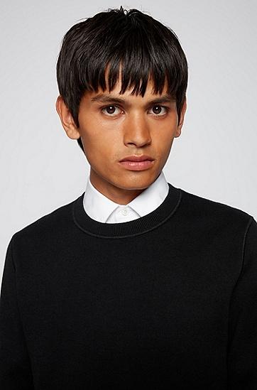 棉加初剪羊毛双面毛衣,  001_Black