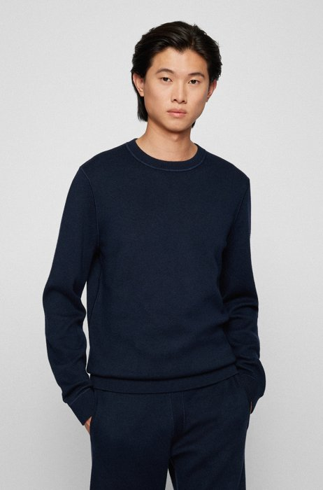 Reversible sweater in cotton and virgin wool, Dark Blue