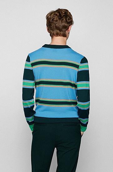 横条纹初剪羊毛常规版型毛衣,  495_Open Blue