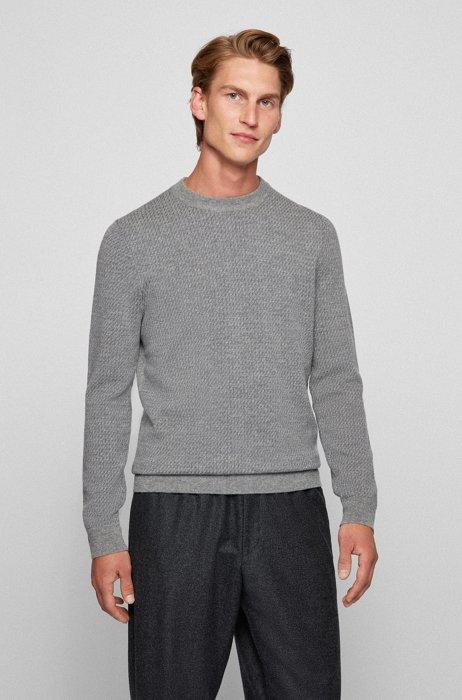 Crew-neck sweater in micro-patterned virgin wool, Silver