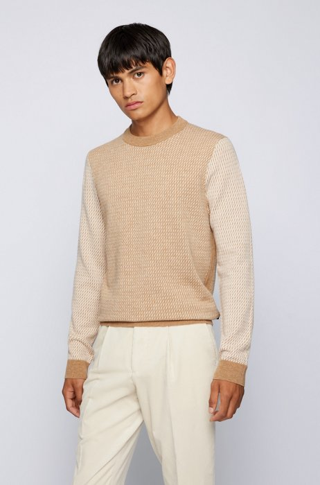 Crew-neck sweater in micro-patterned virgin wool, Beige