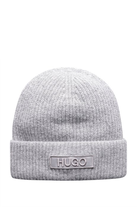 Beanie hat with tonal embroidered logo badge, Grey