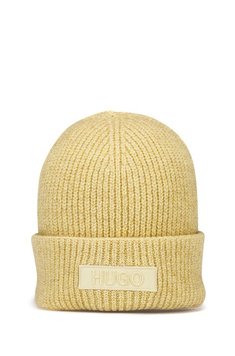 Beanie hat with tonal embroidered logo badge, Light Yellow