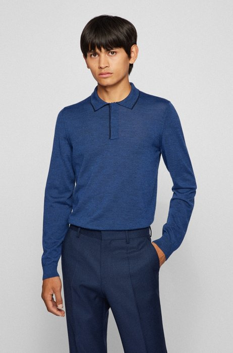 Contrast-tipped polo shirt in virgin wool and silk, Dark Blue