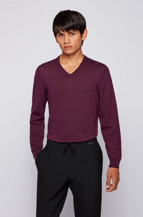 V-neck sweater in Italian virgin wool with logo embroidery, Purple