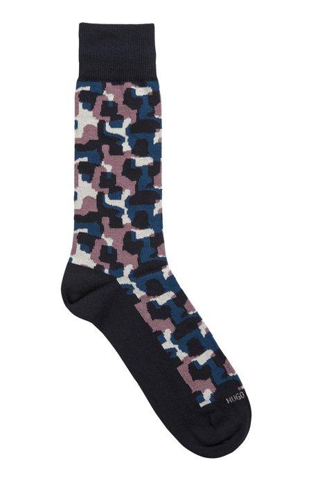 Regular-length cotton-blend socks with camouflage pattern, Dark Blue