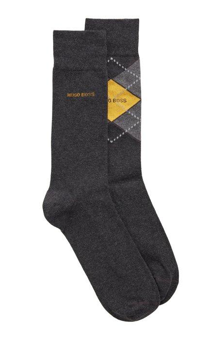 Two-pack of regular-length cotton-blend socks, Dark Grey