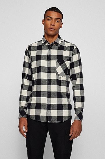 格纹棉质法兰绒面料常规版型衬衫,  131_Open White