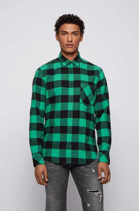 Regular-fit shirt in checked cotton flannel, Light Green