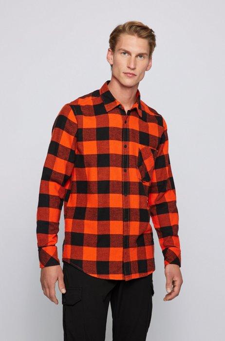 Regular-fit shirt in checked cotton flannel, Orange