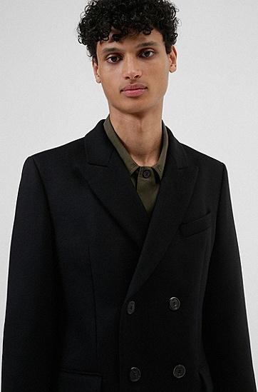羊绒羊毛混纺修身大衣,  001_Black