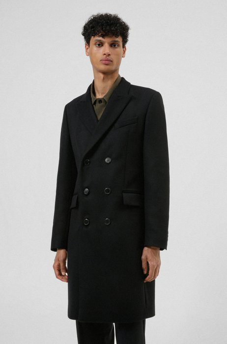 Slim-fit coat in a wool blend with cashmere, Black