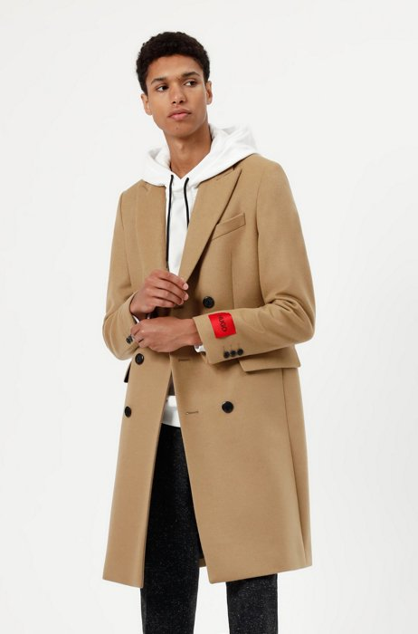 Slim-fit coat in a wool blend with cashmere, Beige