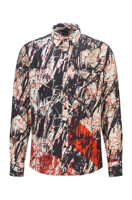 Regular-fit shirt in printed cotton flannel, Red Patterned