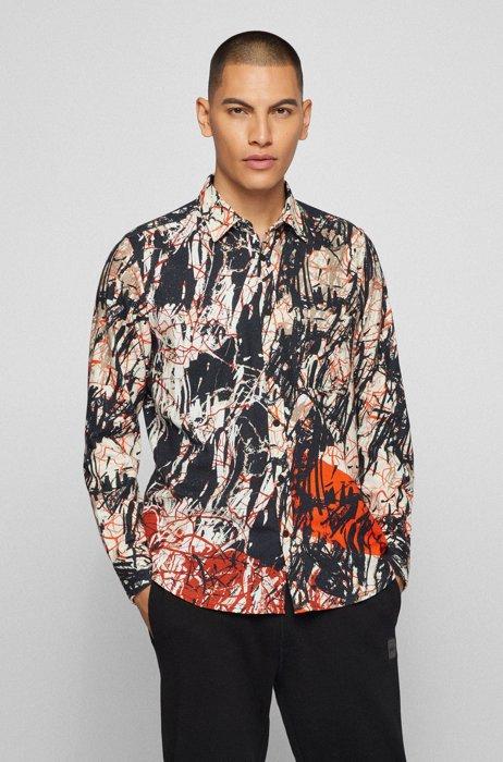 Regular-Fit Flanellhemd aus bedruckter Baumwolle, Rot gemustert