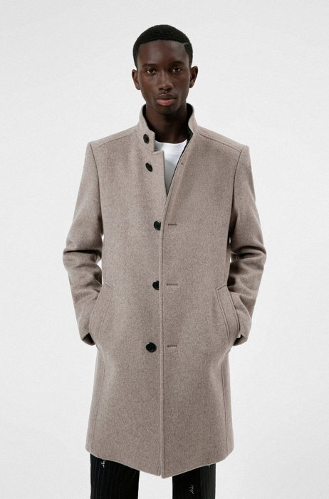 Regular-fit formal coat in a recycled-wool blend, Beige