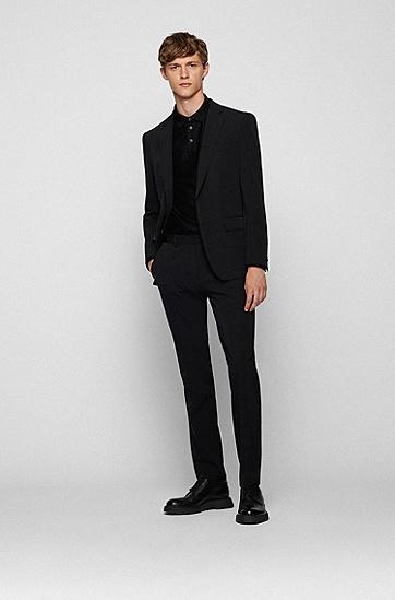 人字纹丝光棉修身 Polo 衫,  001_Black