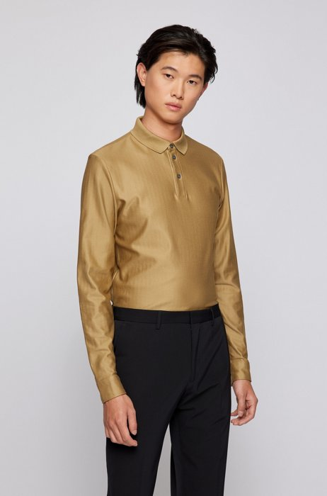 Slim-fit polo shirt in herringbone-structured mercerised cotton, Beige