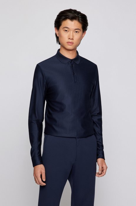 Slim-fit polo shirt in herringbone-structured mercerised cotton, Dark Blue