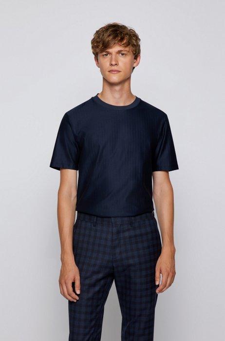 Herringbone-structure regular-fit T-shirt in mercerized cotton, Dark Blue