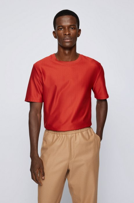 Herringbone-structure regular-fit T-shirt in mercerized cotton, Red