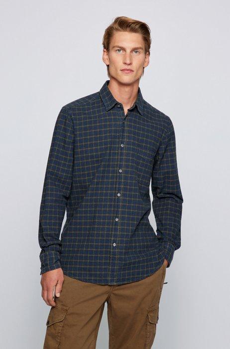 Regular-fit checked shirt in repurposed slub cotton, Dark Green
