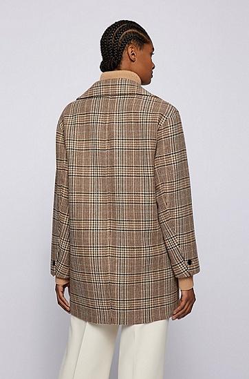 格伦格纹羊毛混纺宽松大衣,  967_Open Miscellaneous