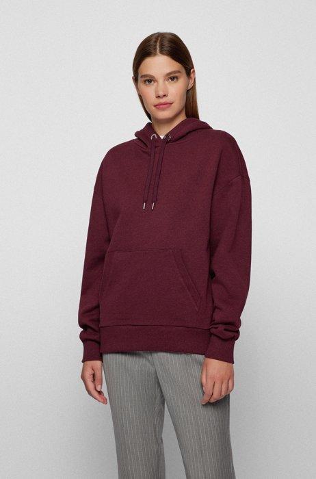 Cotton-blend sweatshirt with logo-print hood, Dark Red