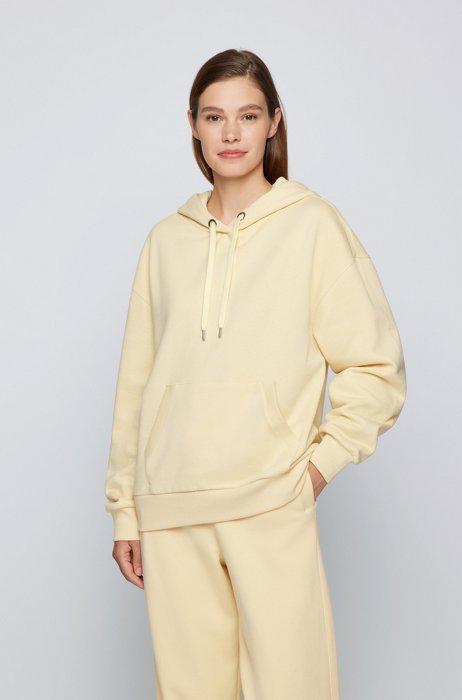 Cotton-blend sweatshirt with logo-print hood, Light Yellow
