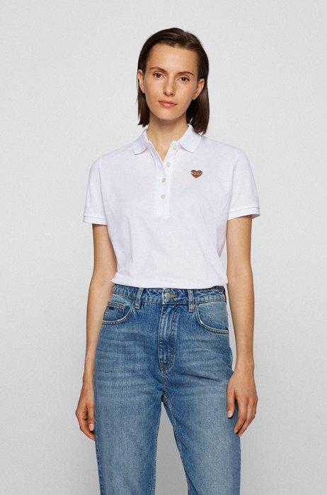 Polo Slim Fit en piqué de coton à monogramme, Blanc