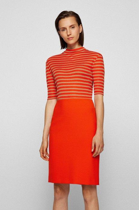 Mock-neck slim-fit T-shirt with horizontal stripes, Orange Patterned