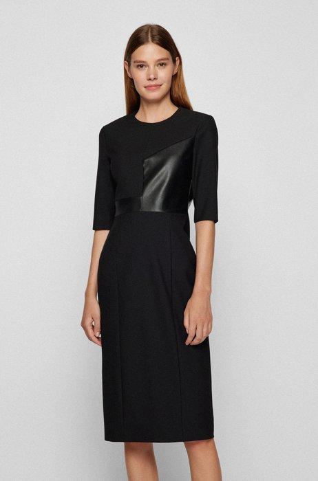 Slim-fit dress with faux-leather details, Black