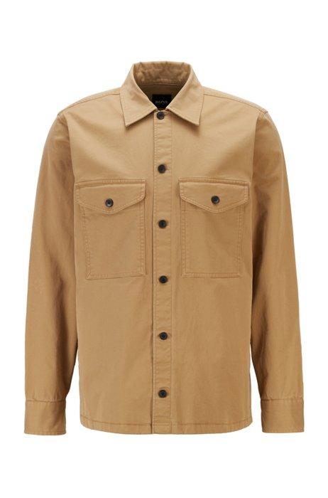 Garment-dyed overshirt in een twill van stretchkatoen met logostiksel, Beige