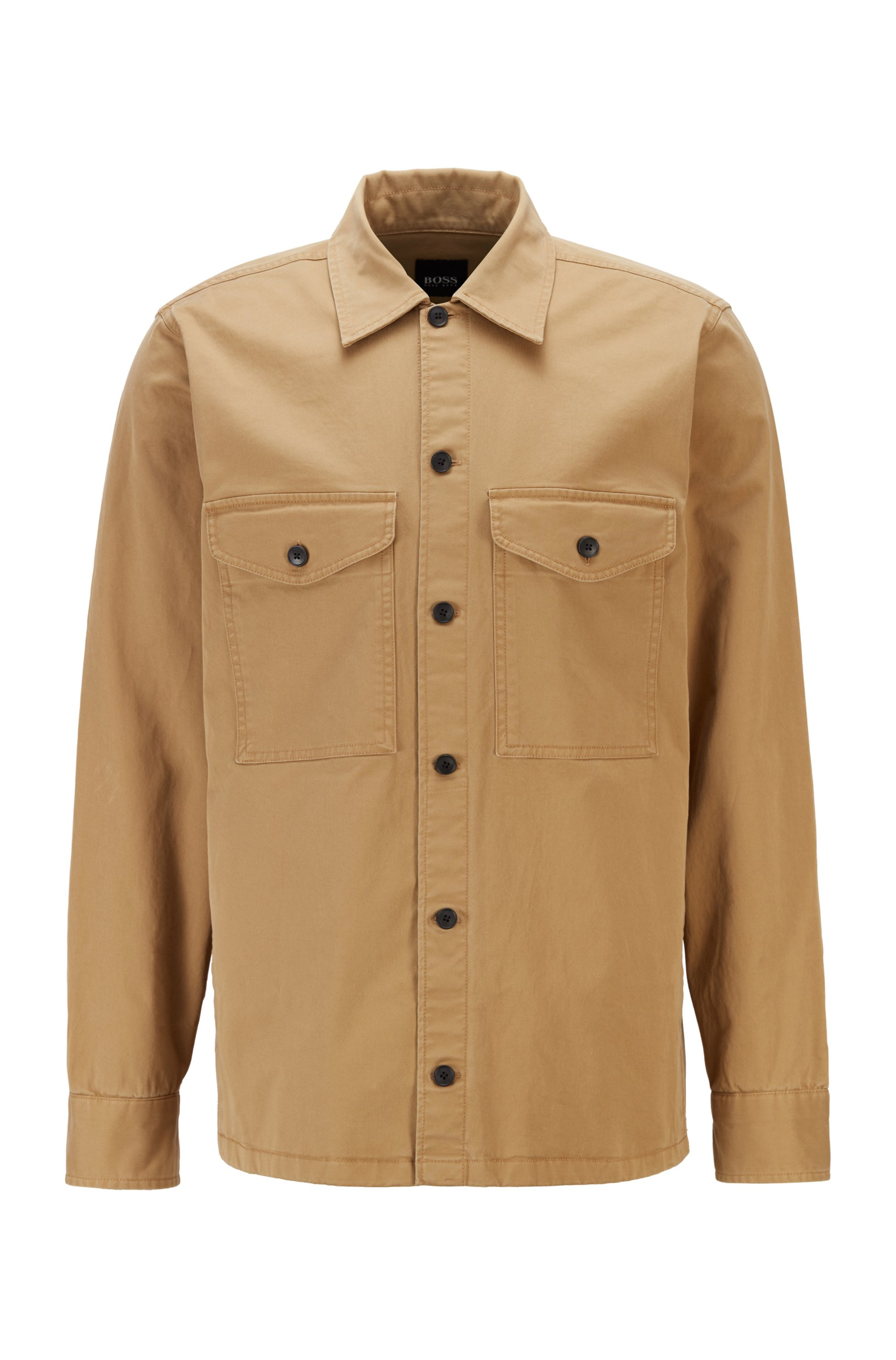 Garment-dyed overshirt in strech-cotton twill with logo embroidery, Beige