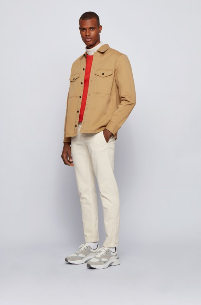 Garment-dyed overshirt in strech-cotton twill with logo embroidery