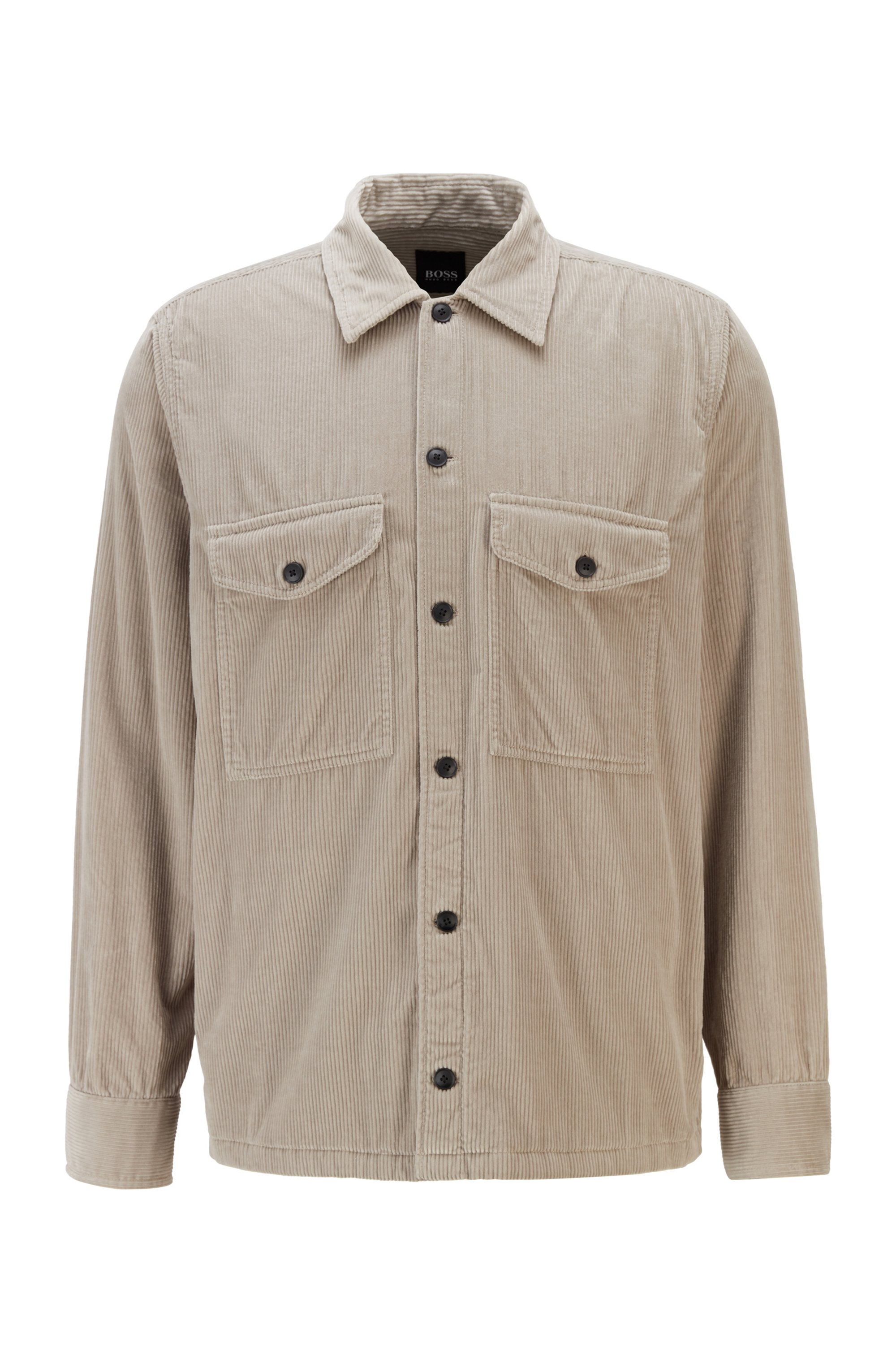 Washed corduroy overshirt with logo embroidery, Light Grey