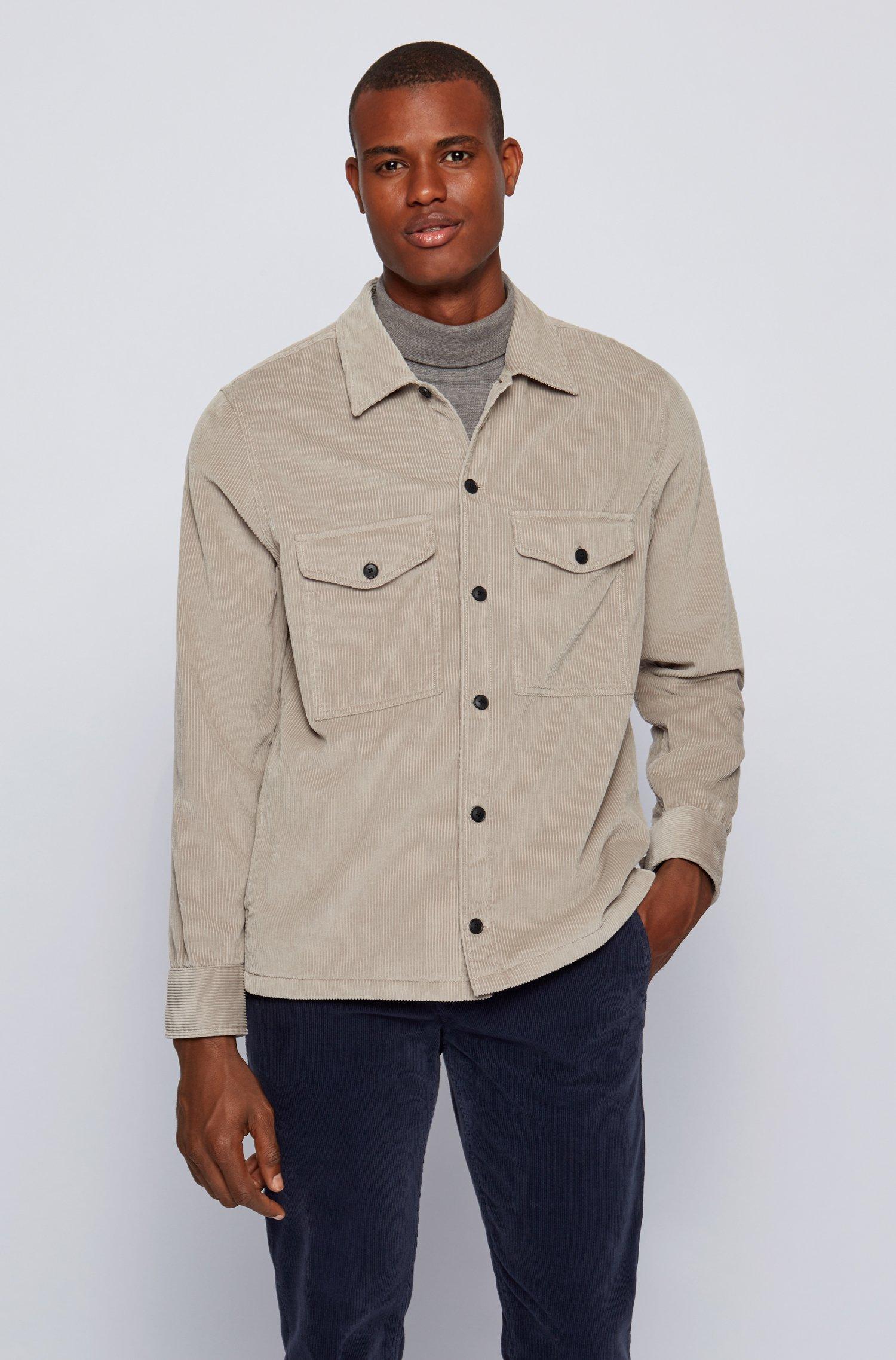 Washed corduroy overshirt with logo embroidery, Light Grey