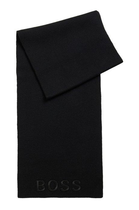 Ribbed scarf in virgin wool with tonal logo, Black