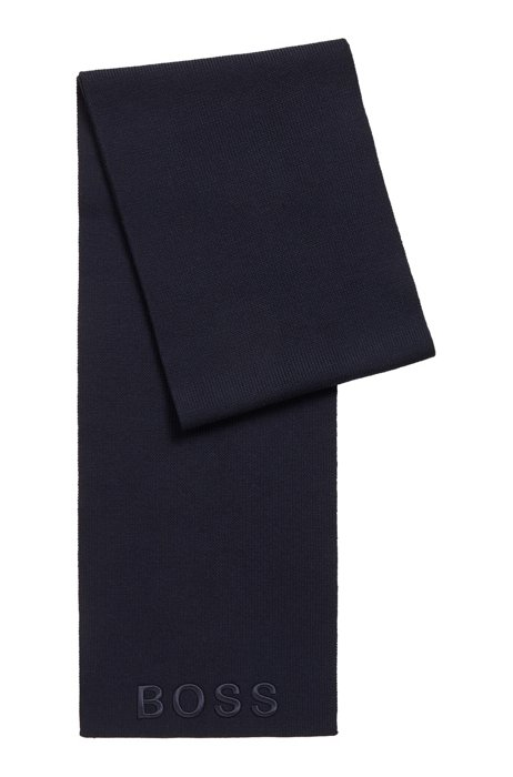 Ribbed scarf in virgin wool with tonal logo, Light Blue