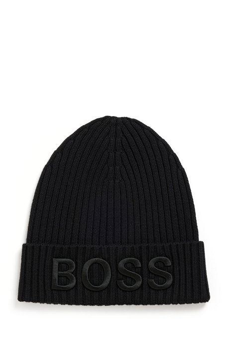 Ribbed beanie hat in virgin wool with embroidered logo, Black