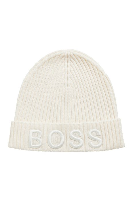 Ribbed beanie hat in virgin wool with embroidered logo, White