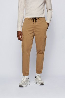 Tapered-fit cargo trousers in stretch cotton, Beige