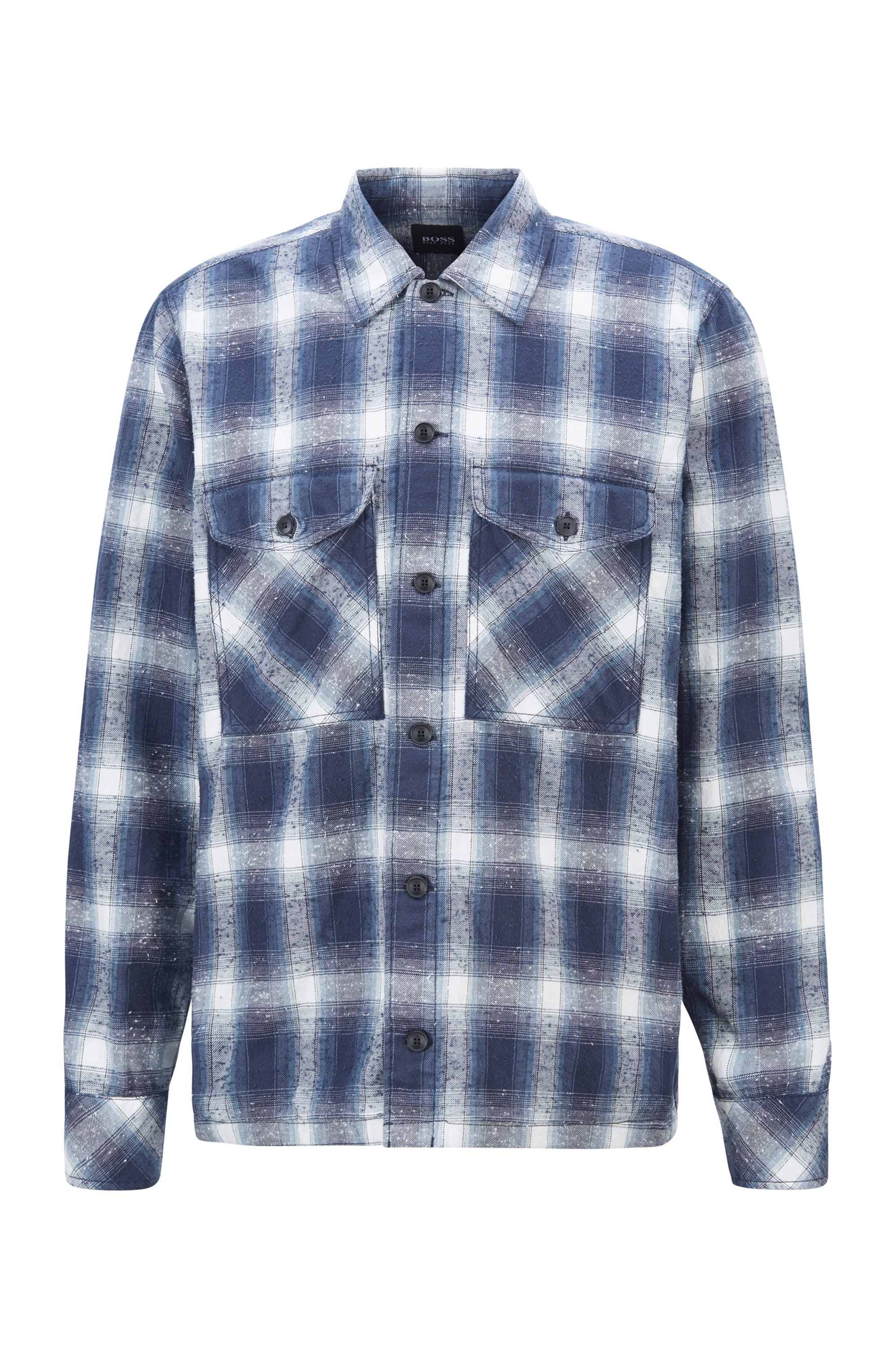 Kariertes Oversized Hemd aus strukturiertem Baumwoll-Jacquard, Blau gemustert