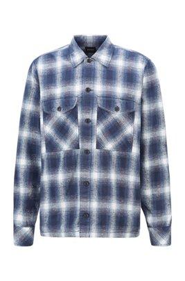 オーバーサイズフィットシャツ チェック スラブコットンジャカード, ブルー パターン