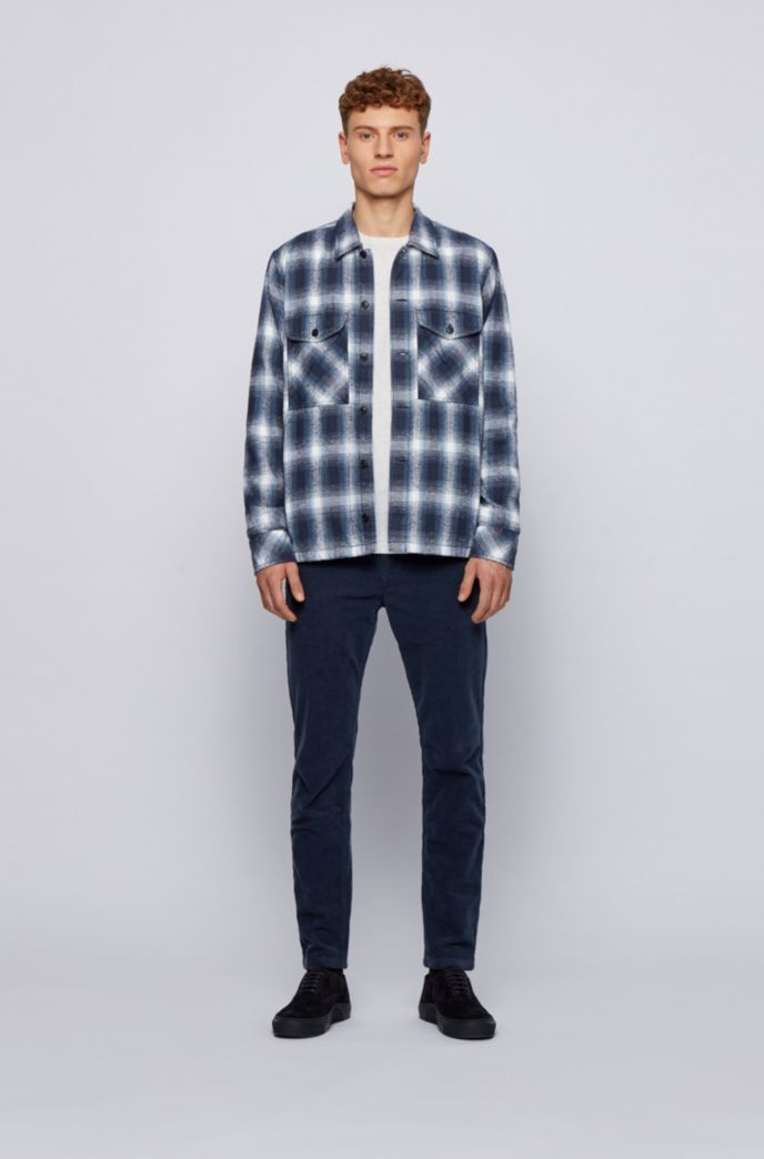 Oversized-fit shirt in checked slub-cotton jacquard
