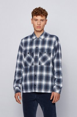 Oversized-fit shirt in checked slub-cotton jacquard, Blue Patterned