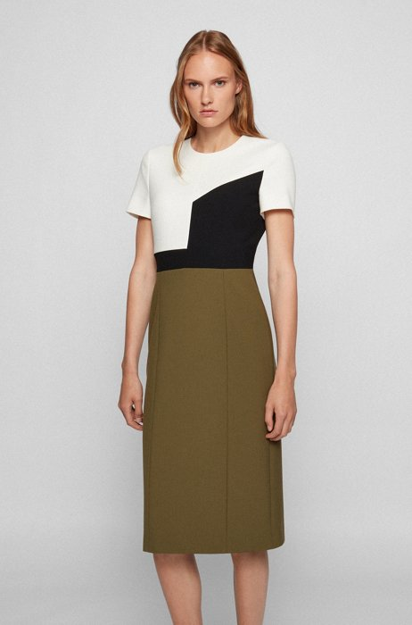 Slim-fit colour-block dress with faux-leather details, Dark Green