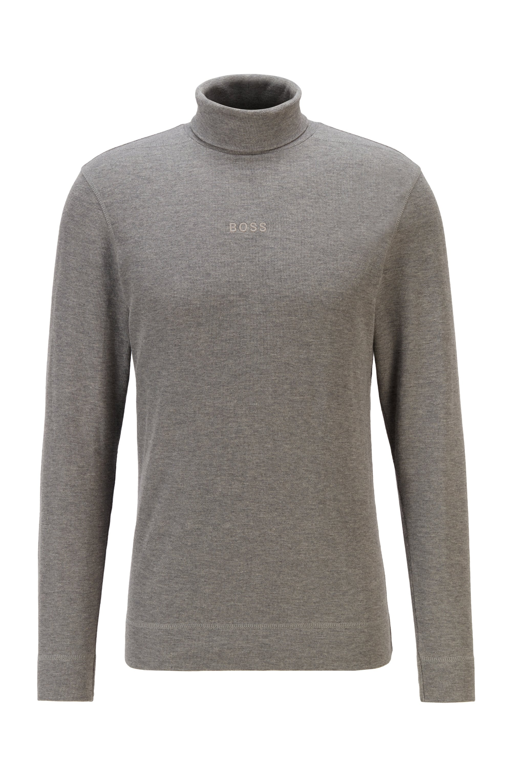 Logo-embroidered high-neck T-shirt in structured melange cotton, Light Grey