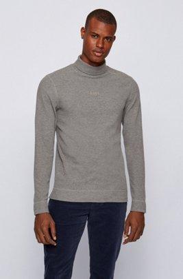 Logo-embroidered high-neck T-shirt in structured melange cotton, Light Grey